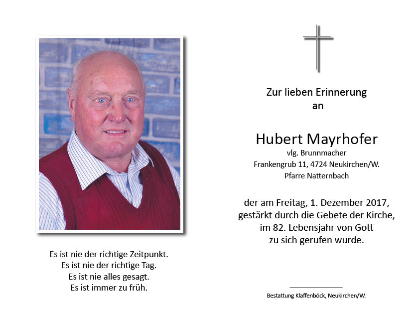 Hubert  Mayrhofer vlg. Brunmacher