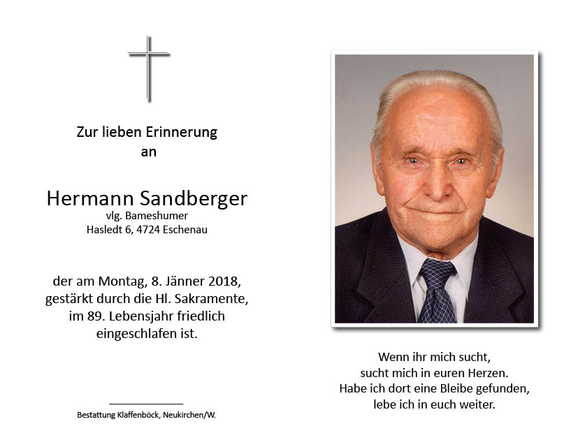 Hermann  Sandberger, vlg. Bameshumer